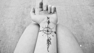 artistic-compass-feather-nautical-tattoo-favim-com-419961
